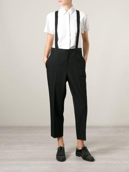 comme des gar ons 39 robe de chambre 39 suspender trousers in. Black Bedroom Furniture Sets. Home Design Ideas
