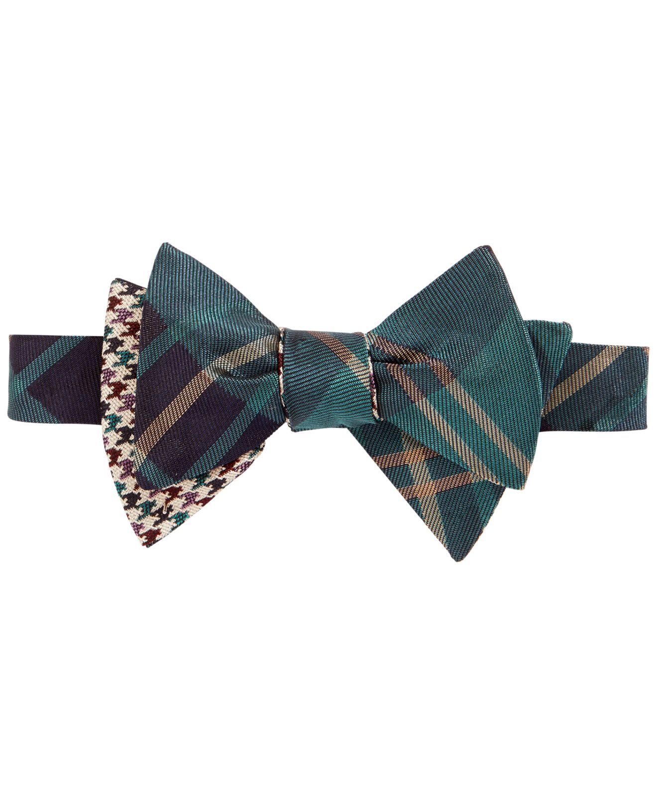 Brooks brothers Reversible Teal Plaid To-tie Bow Tie in ...