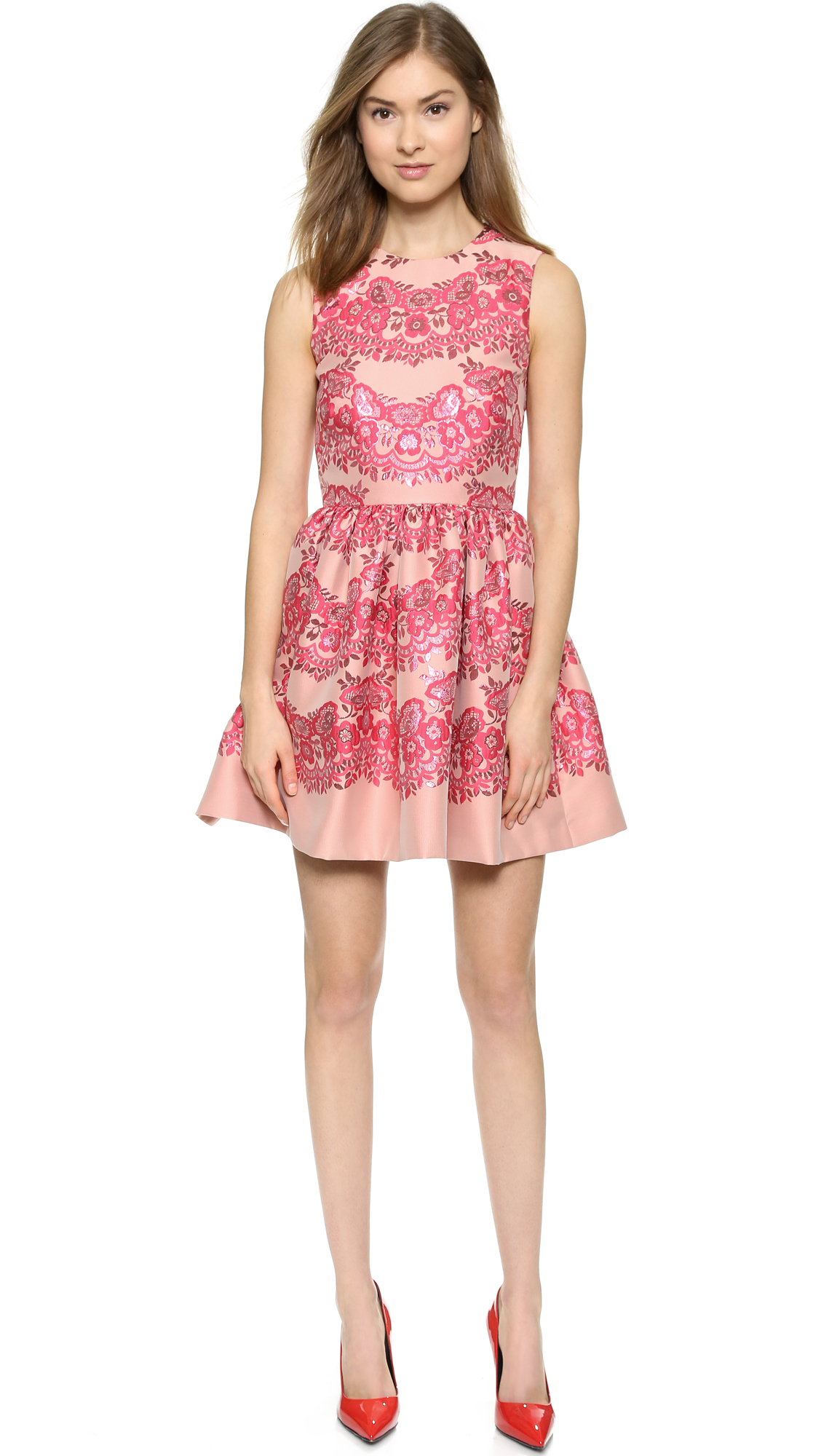 Red Valentino Lace Brocade Dress Ribes In Red Lyst