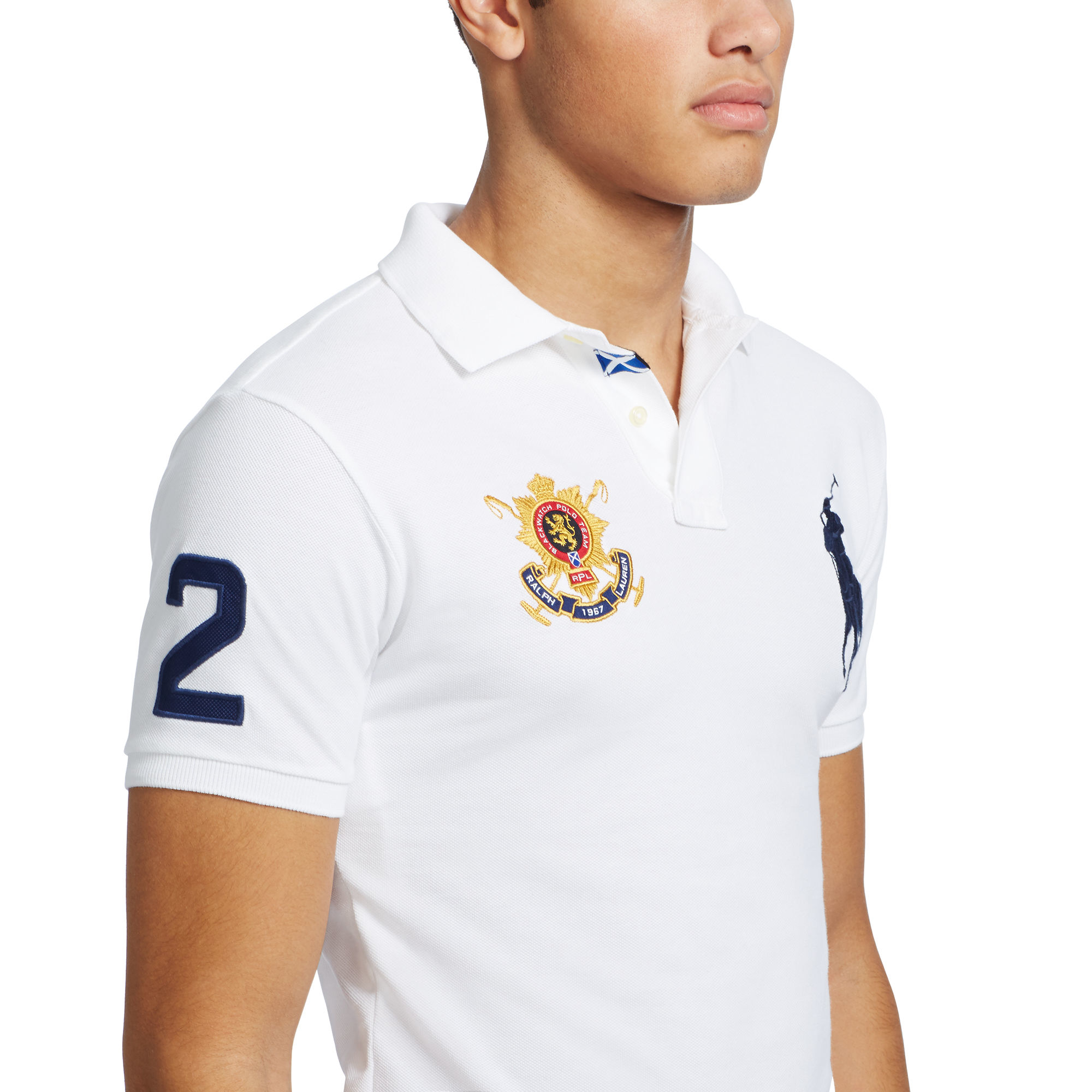 c5f9a8ae Polo Ralph Lauren Blackwatch Custom-fit Polo in White for Men - Lyst