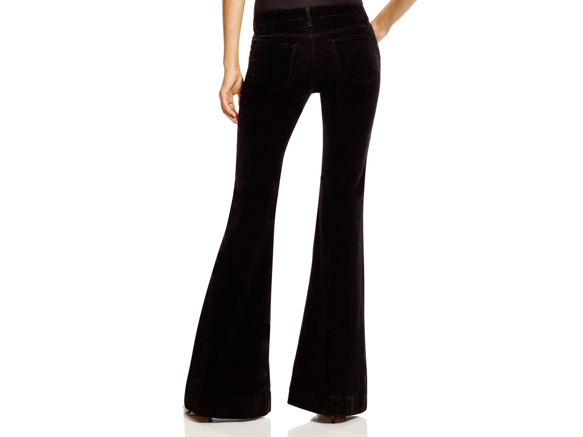 J brand Bella Velvet Flare Jeans in Black   Lyst