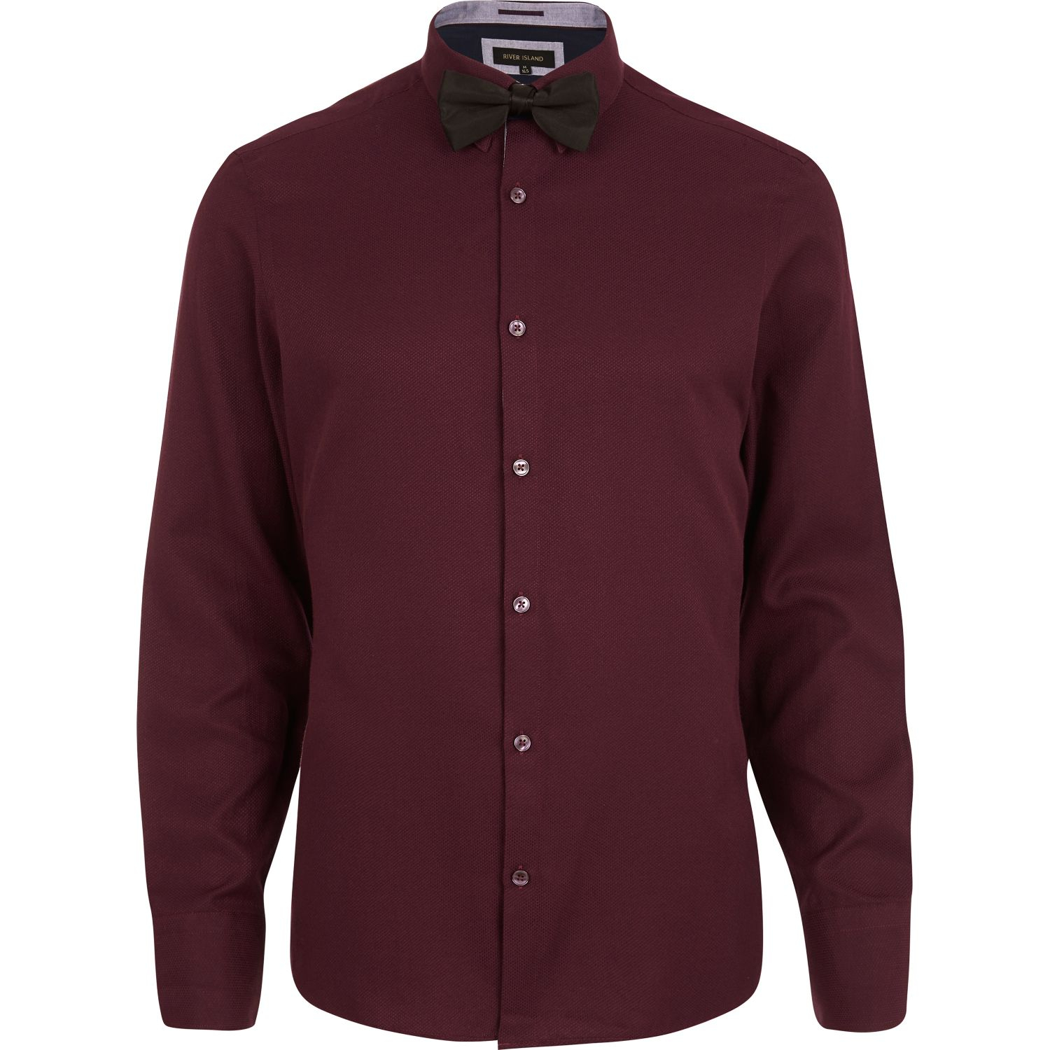 River Island Dark Red Long Sleeve Shirt Bow Tie Pack In