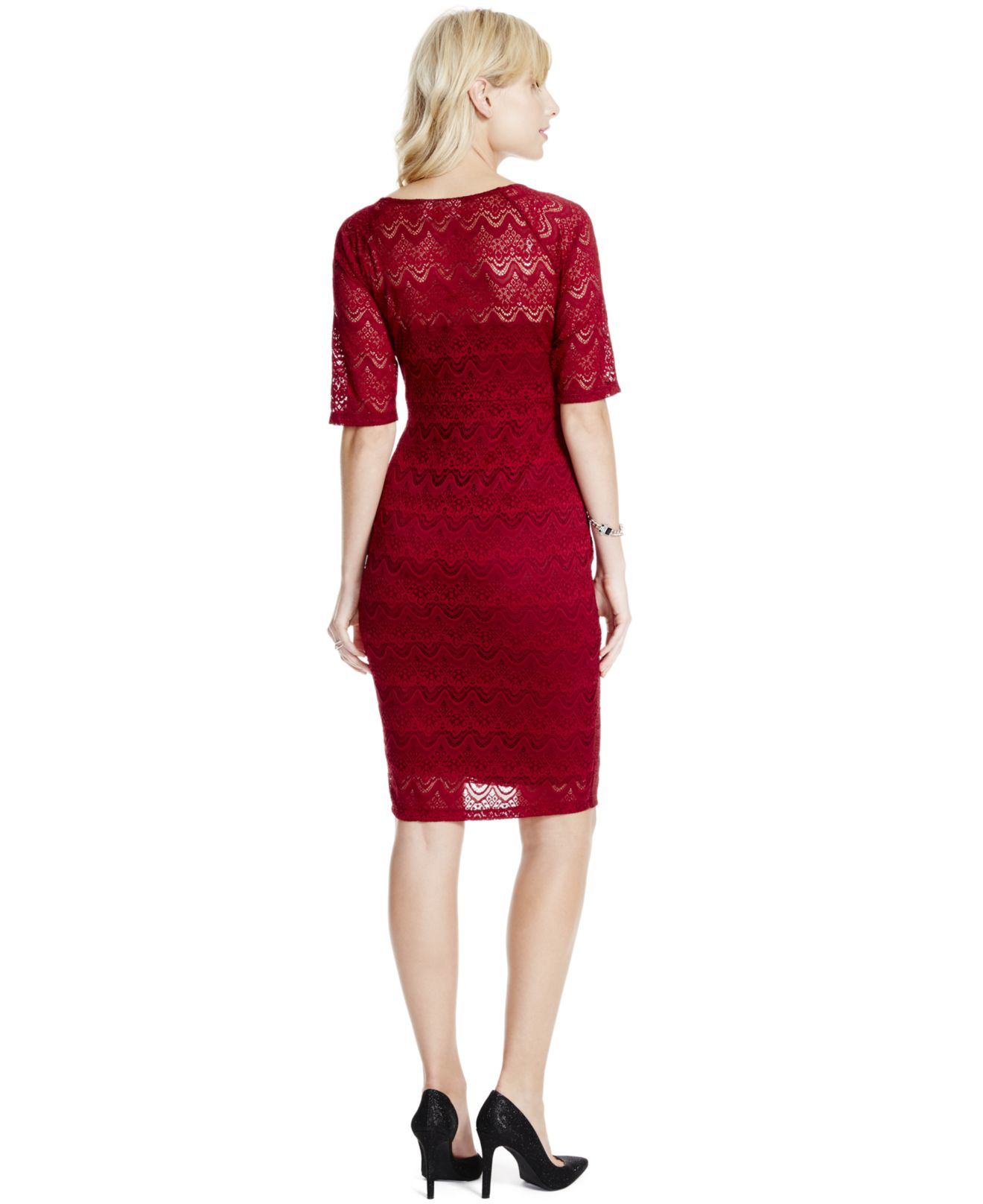 Jessica simpson maternity lace elbow sleeve dress in red lyst gallery ombrellifo Gallery