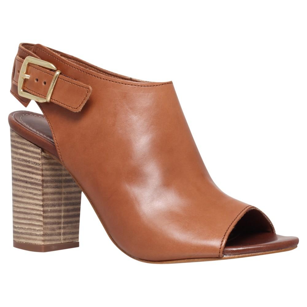 Peep Toe Leather Shoe Boots in Tan