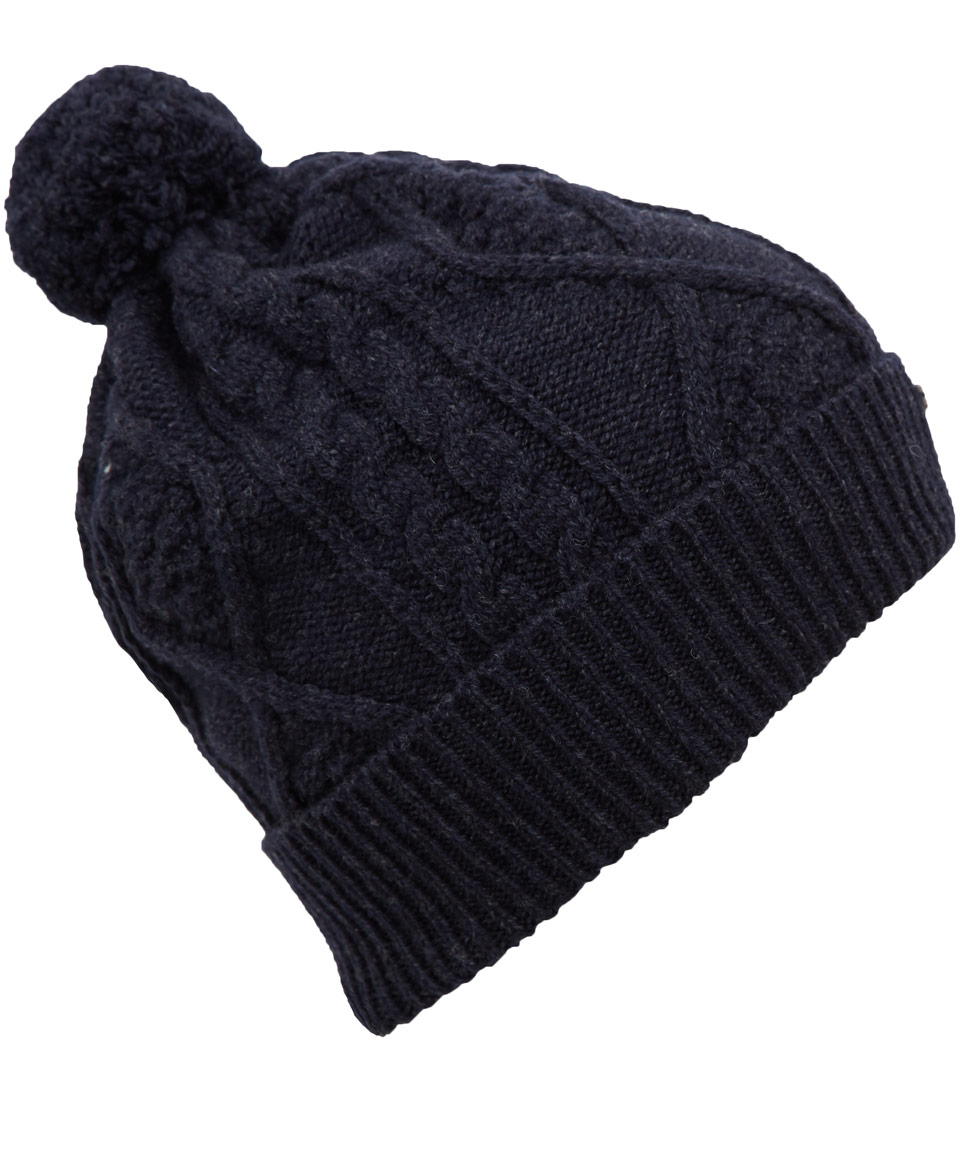 16353ae8470 Barbour Navy Aran Knit Wool Bobble Hat in Blue for Men - Lyst