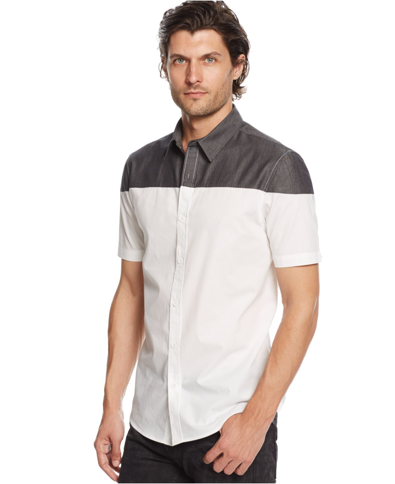 Lyst Guess Short Sleeve Chambray Block Shirt In White