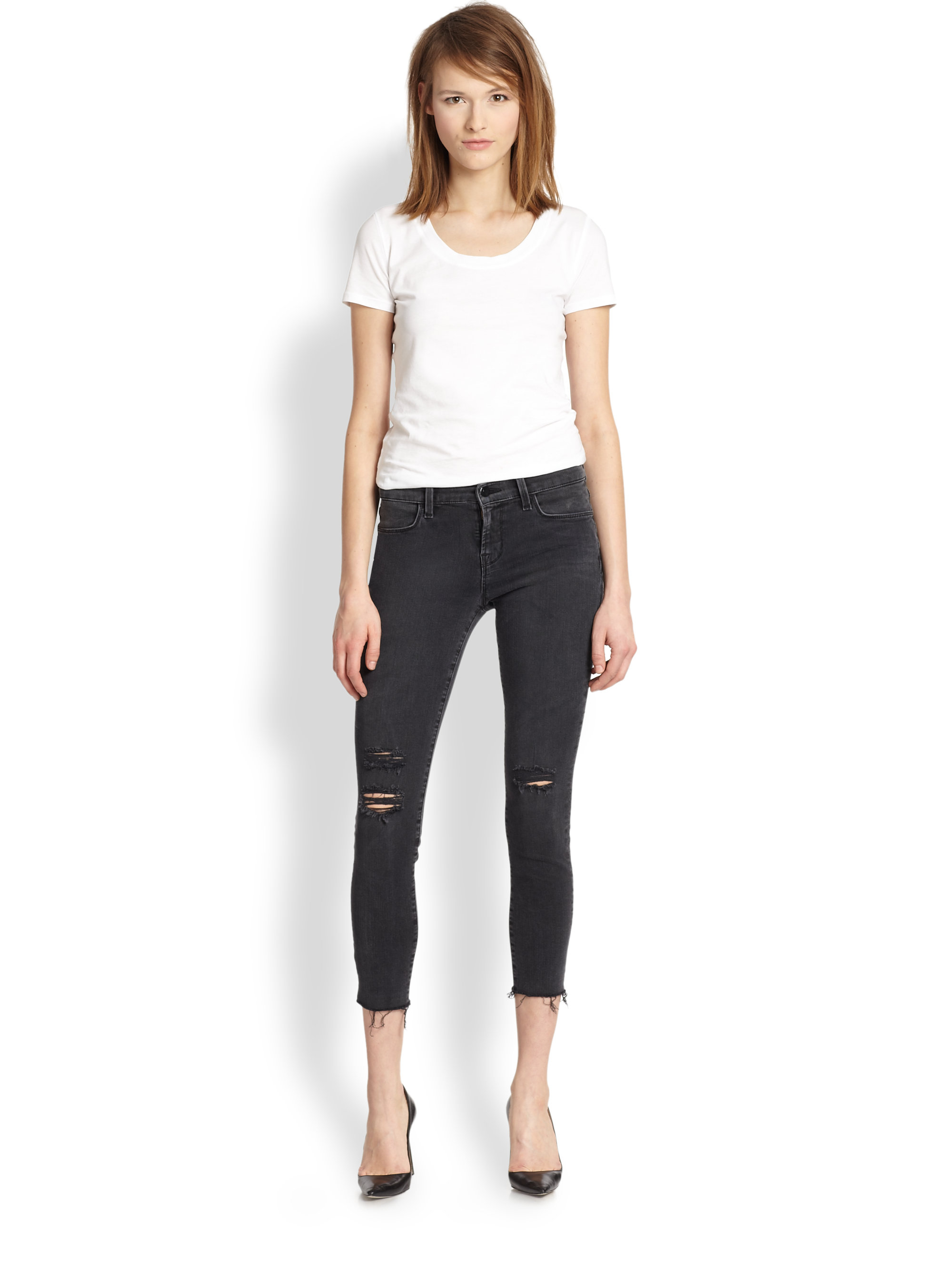 J brand distressed cropped skinny jeans