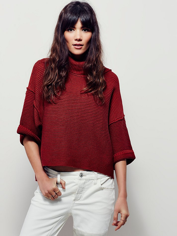 c52ad3c4179 Free People Boxy Turtleneck Pullover in Red - Lyst