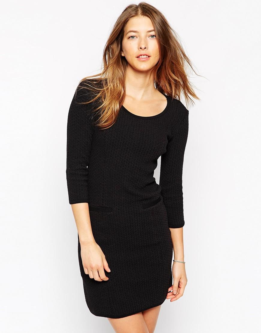 626fb682 Ganni Long Sleeve Shift Dress With Pockets in Black - Lyst