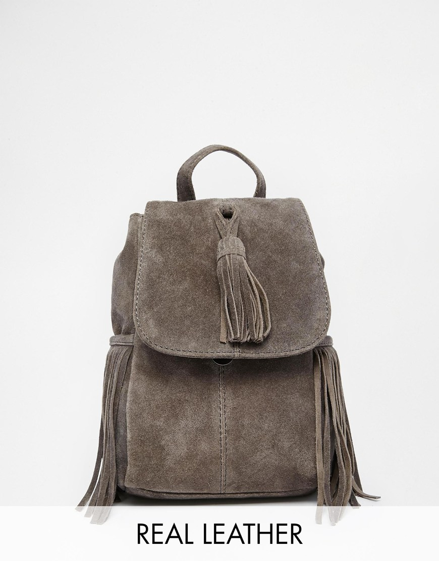 Asos Mini Suede Backpack With Tassels in Gray | Lyst