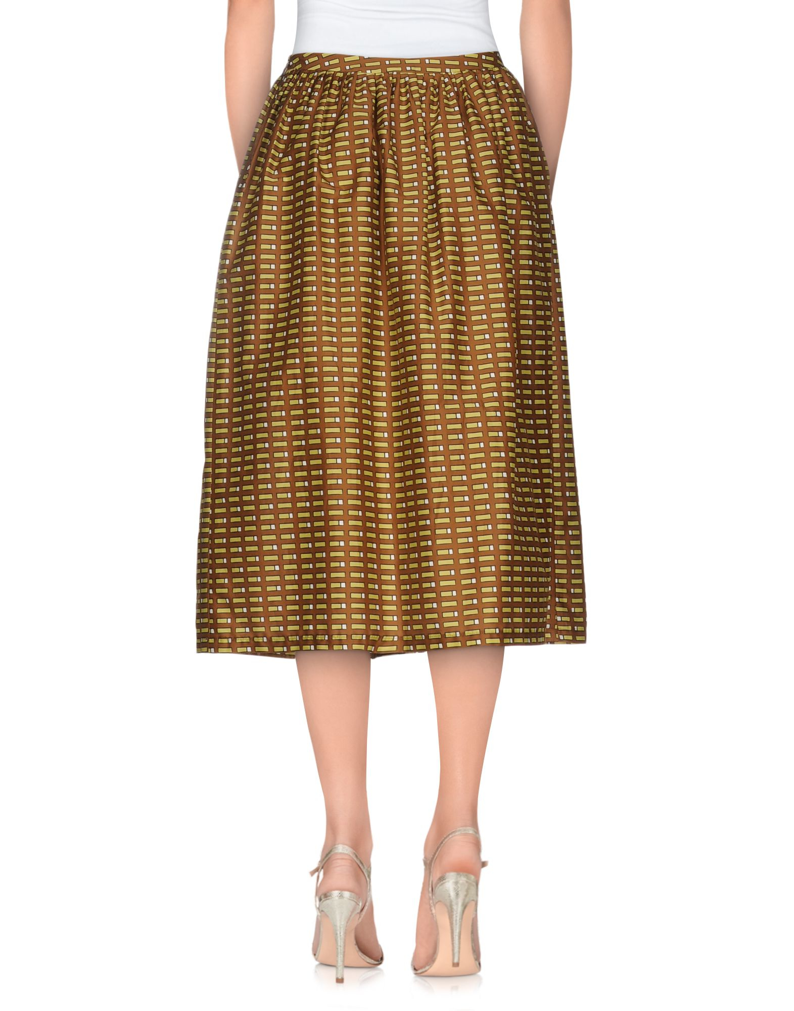 Lyst laura urbinati 3 4 length skirt in brown for 20 34 35 dress shirts