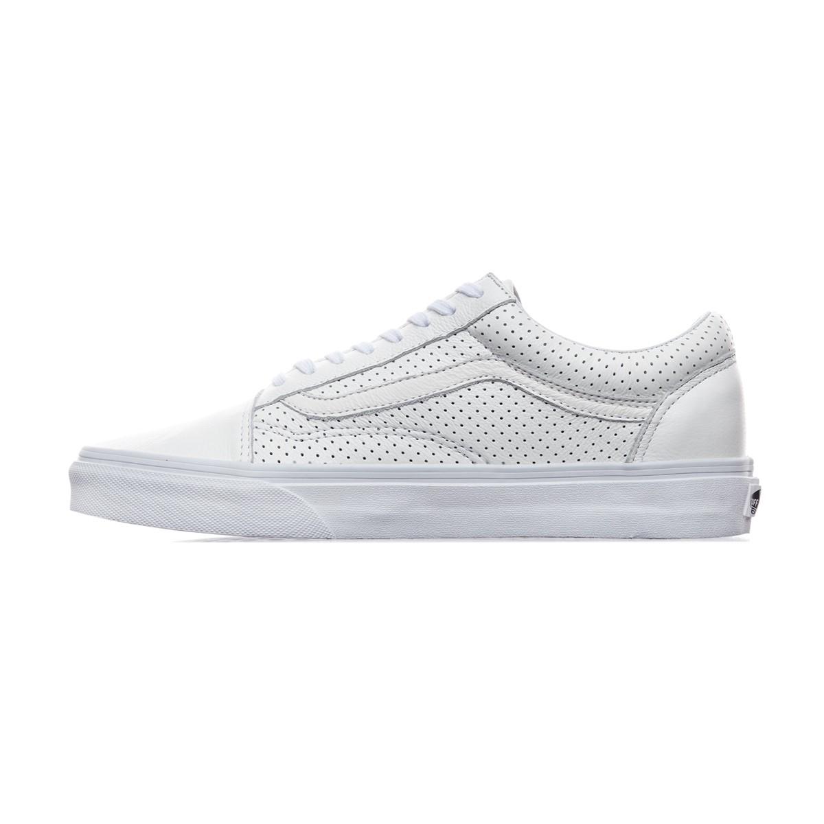 30b006355c8 Vans Old Skool Zip Perforated Leather Sneakers in White for Men - Lyst