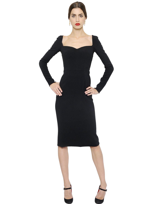 Dolce & gabbana Sweetheart Neckline Viscose Cady Dress in Black | Lyst