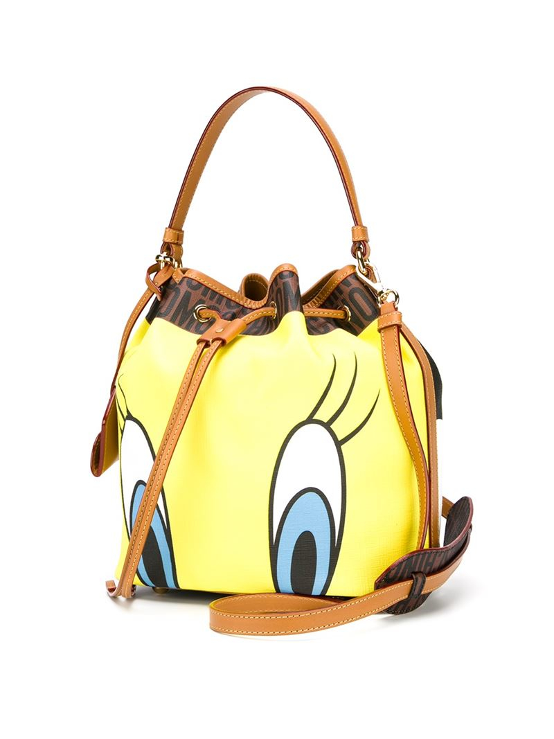 Moschino Tweety And Sylvester Bucket Tote in Yellow & Orange (Yellow)