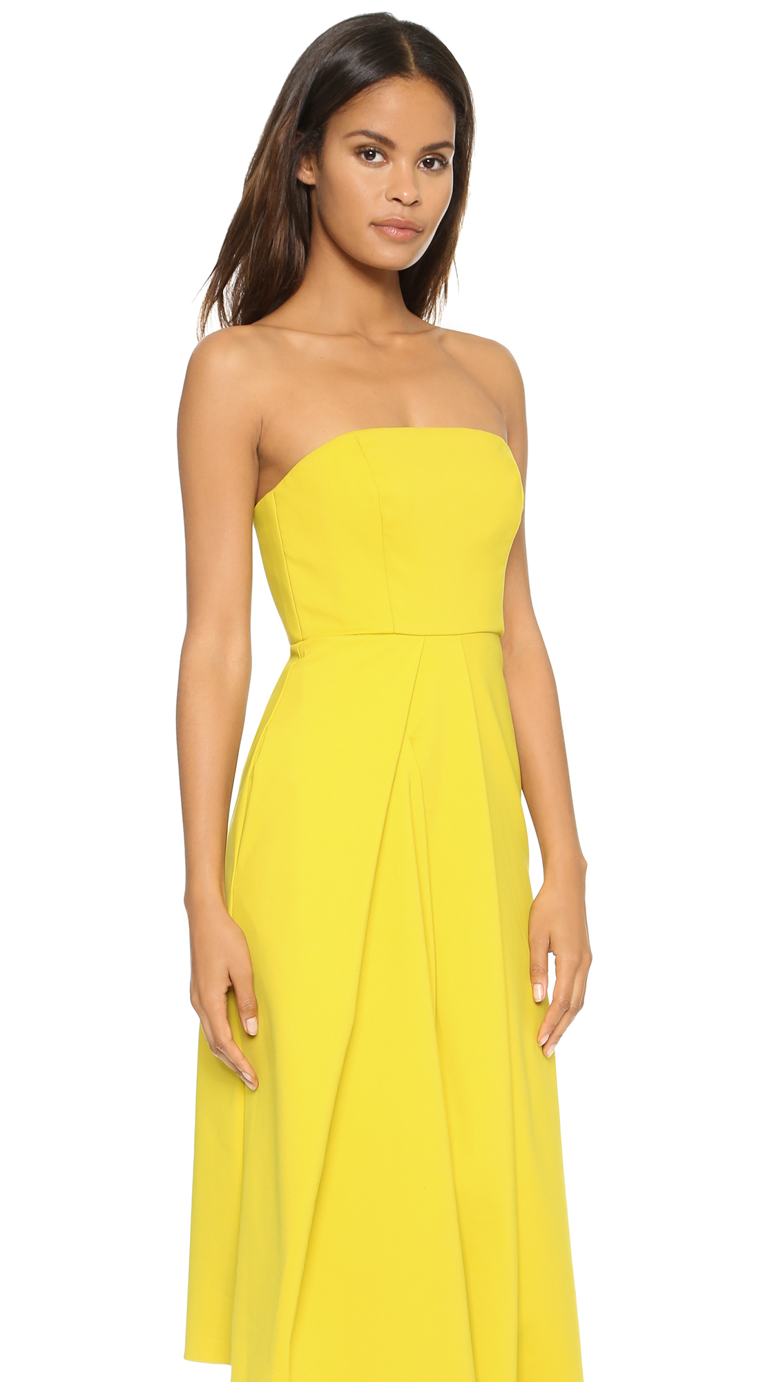 Tibi Asymmetric Drape Strapless Dress - Mustard Seed in Yellow - Lyst