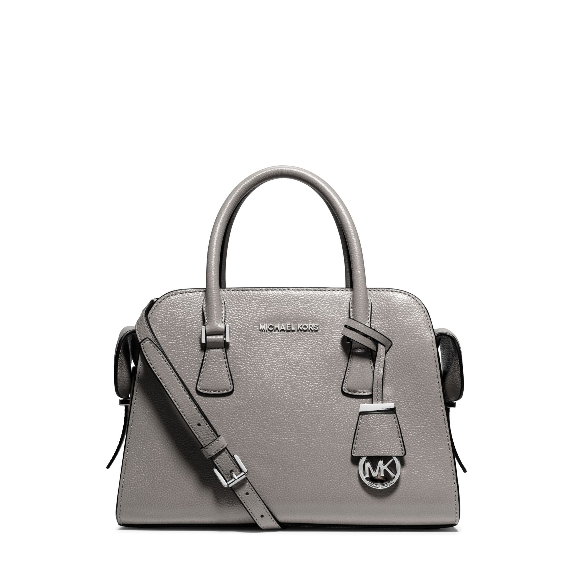 Michael Kors Laukkukoru : Michael kors harper medium leather satchel in gray lyst
