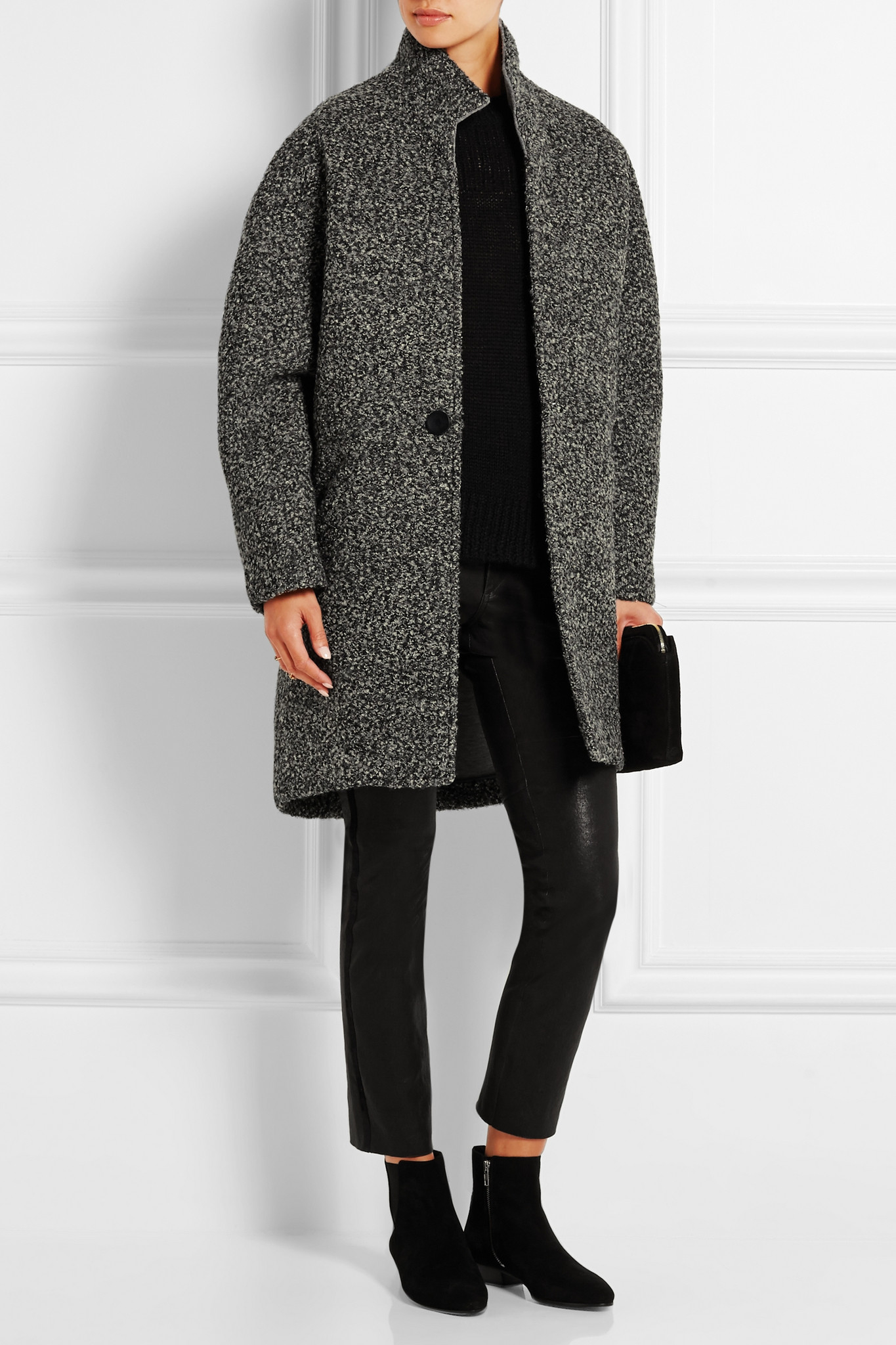 Isabel Marant Daryl Oversized Boucl 233 Coat In Gray Lyst