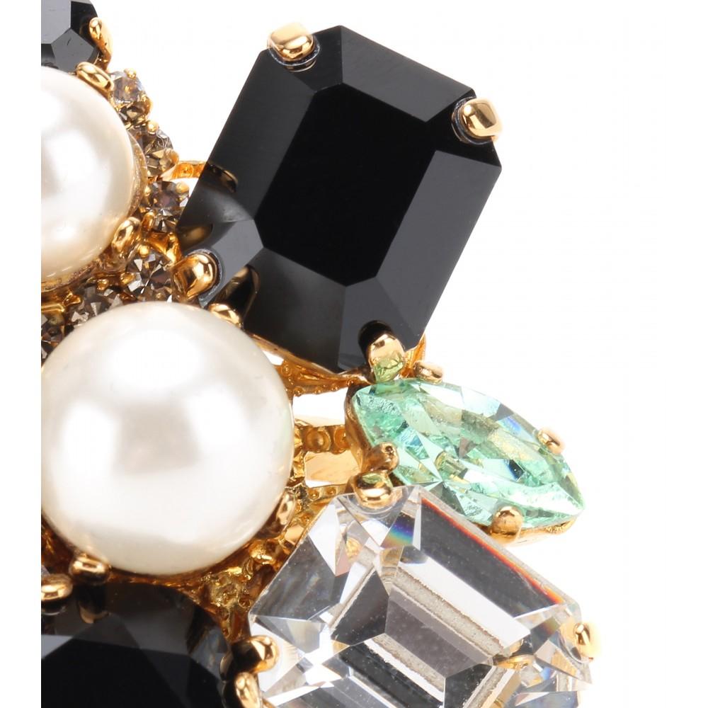 Erdem 23kt Goldplated Swarovski Crystal Ring in Black/Mint/Green/Gold (Black)