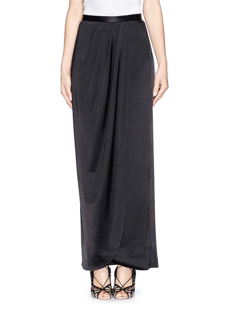 St John Liquid Satin Faux Wrap Maxi Skirt In Black Lyst