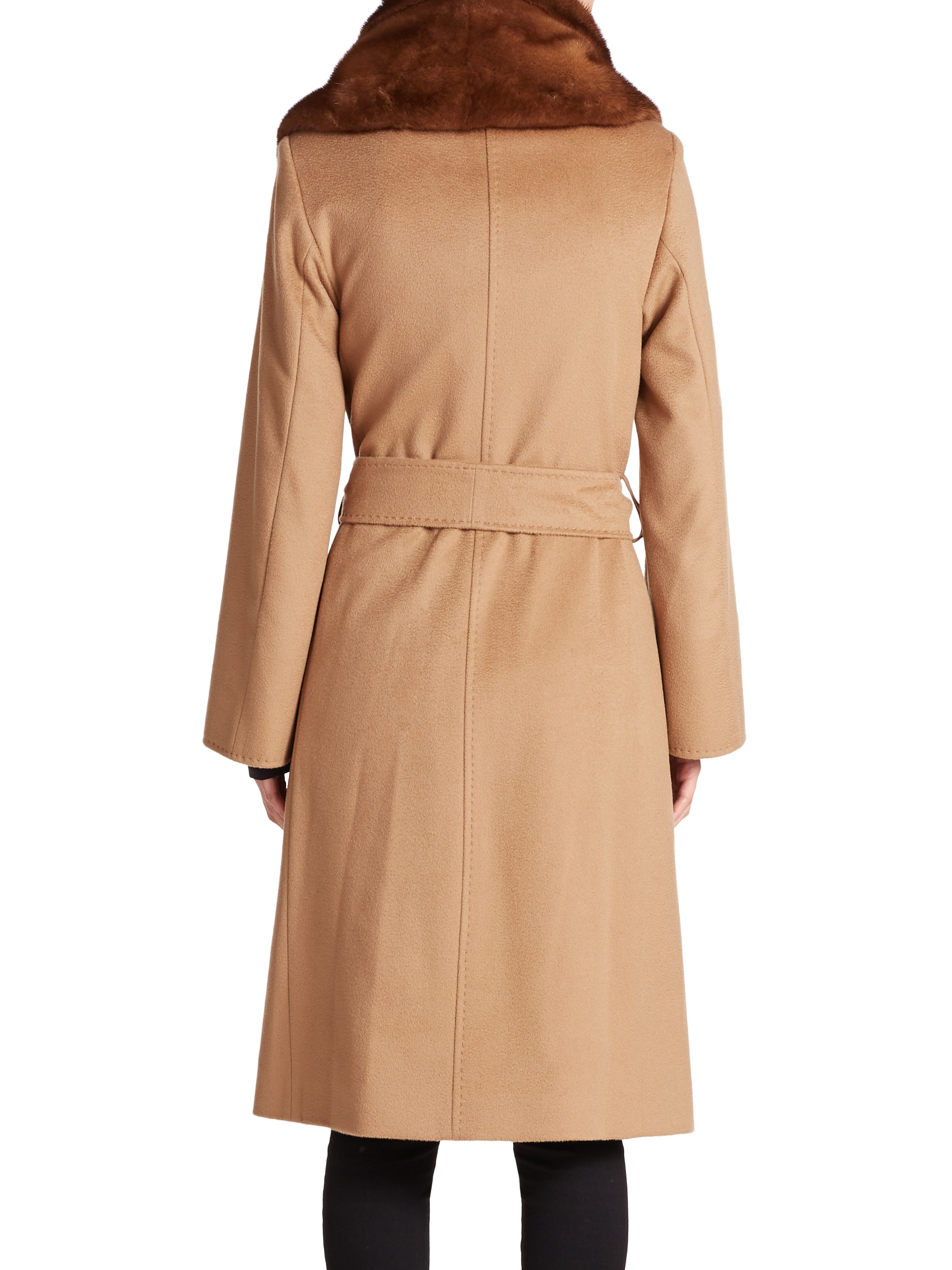Lyst Cinzia Rocca Mink Collar Wool Wrap Coat In Natural