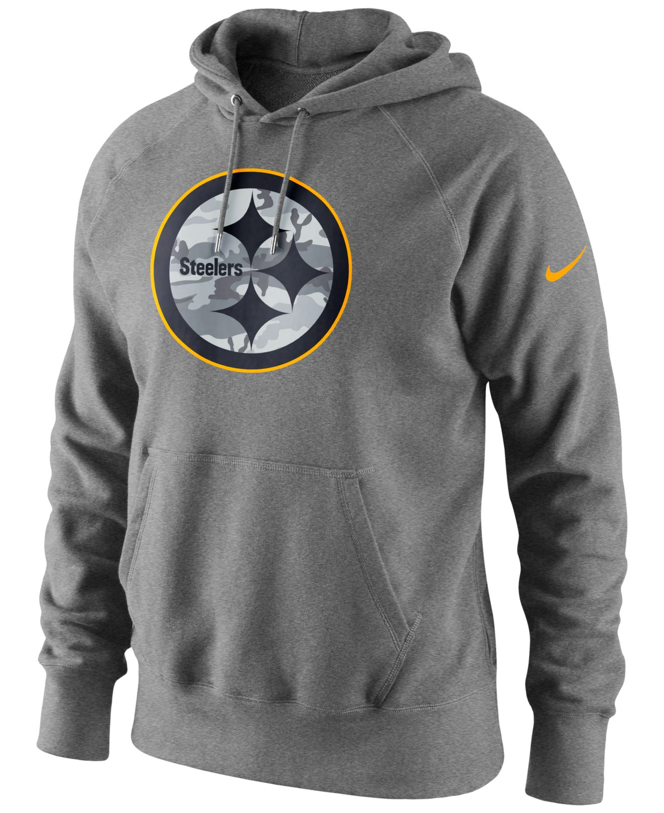 new style 7dc11 cc63c Gray Men's Pittsburgh Steelers Fly Over Pack Hoodie