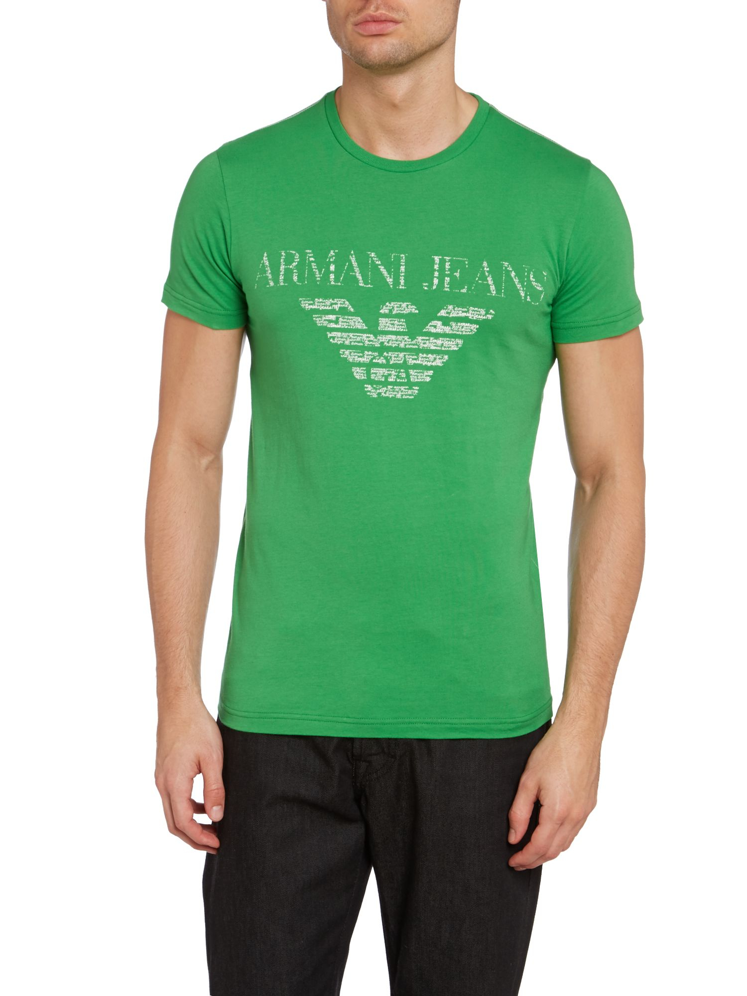 Armani jeans armani pocket logo print t shirt in green for for Sustainable t shirt printing