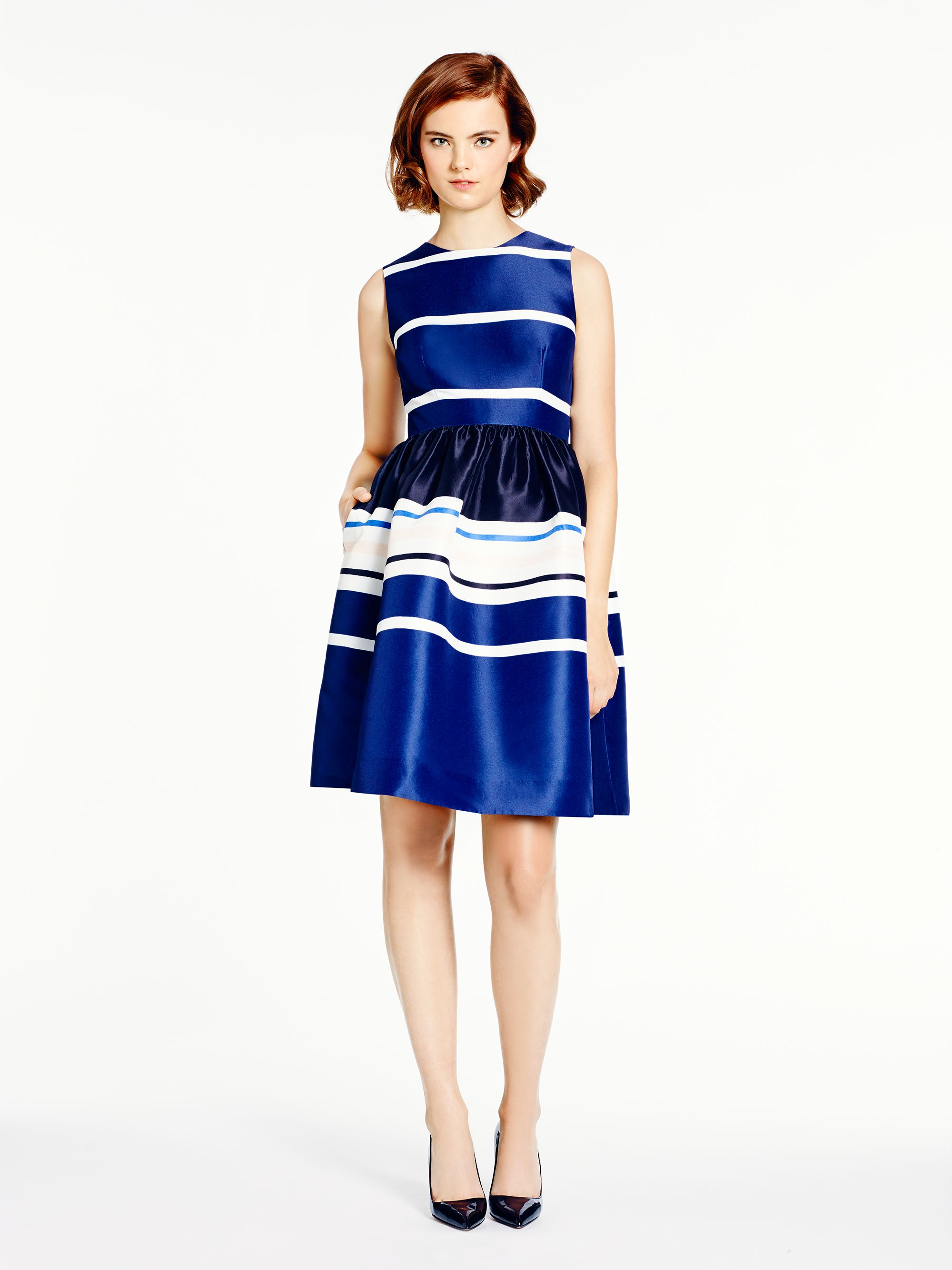 Kate Spade Stripe Fit And Flare Dress In Blue Lyst