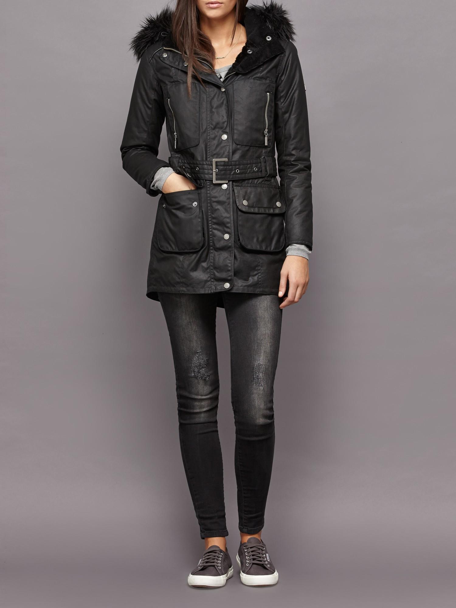 Barbour Katana Wax Parka Jacket in Black | Lyst