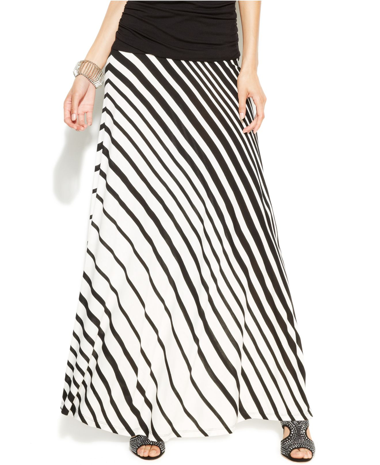 inc international concepts striped maxi skirt in black lyst