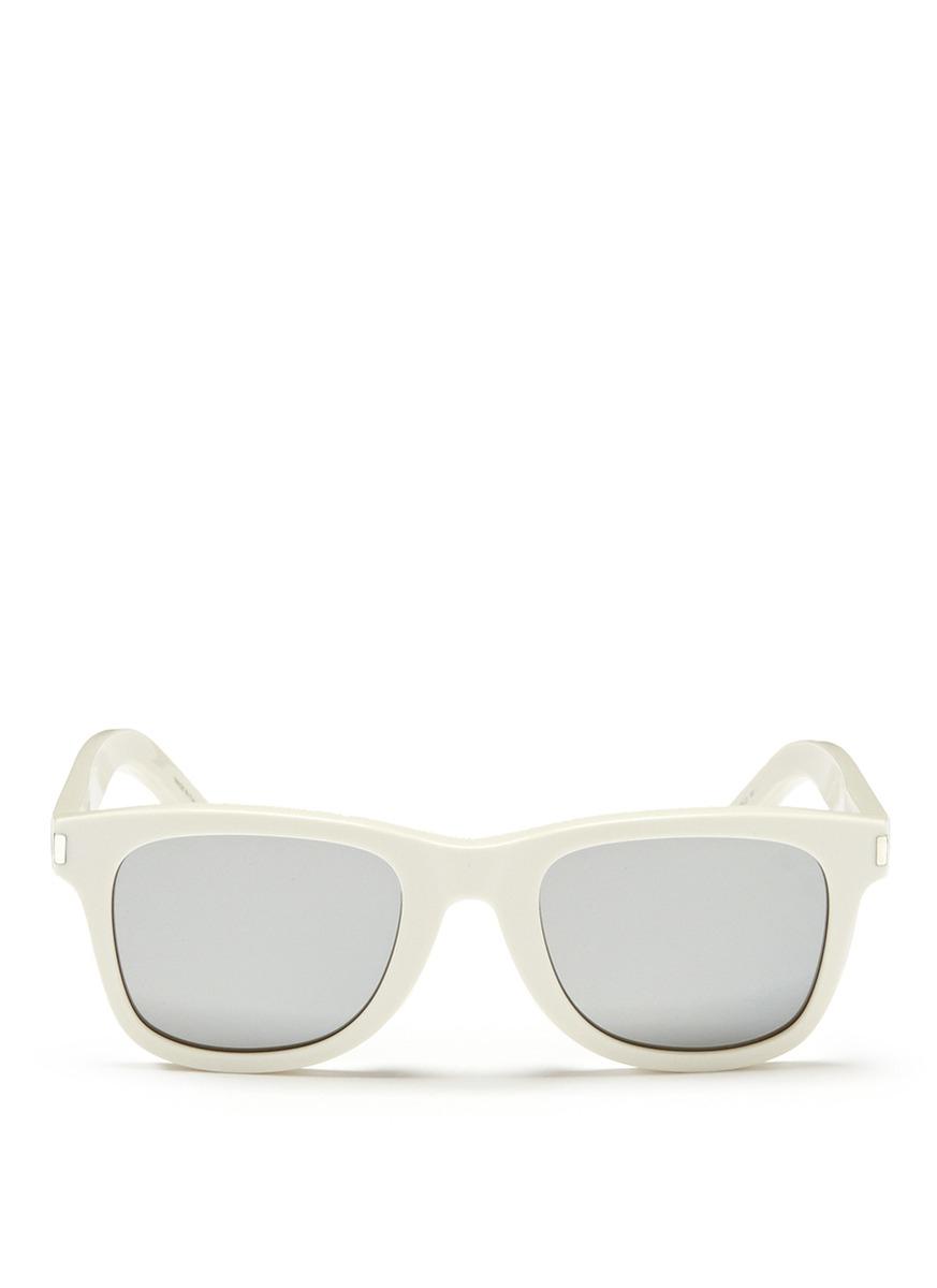 af9c5e8e9 Lyst Laurent Sunglasses 51' In Saint White 'sl Frame Square Mirror TPTZwqRU