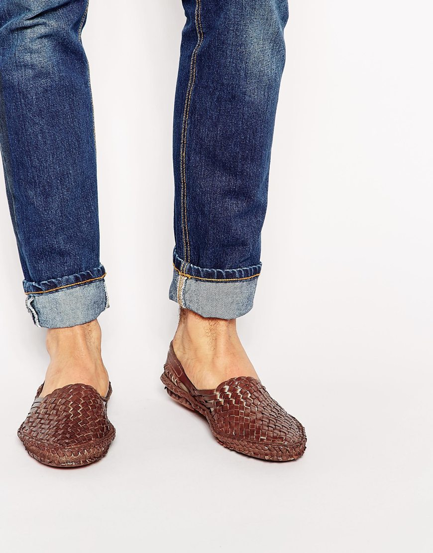 f7408e93ec6 Lyst - ASOS Woven Sandals In Leather in Brown for Men