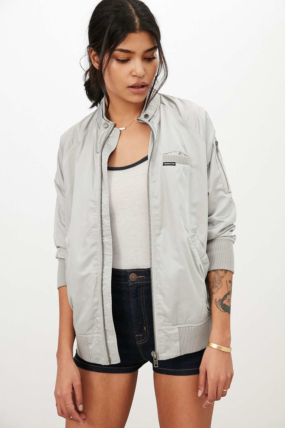 Members only Satin Bomber Jacket in Gray | Lyst