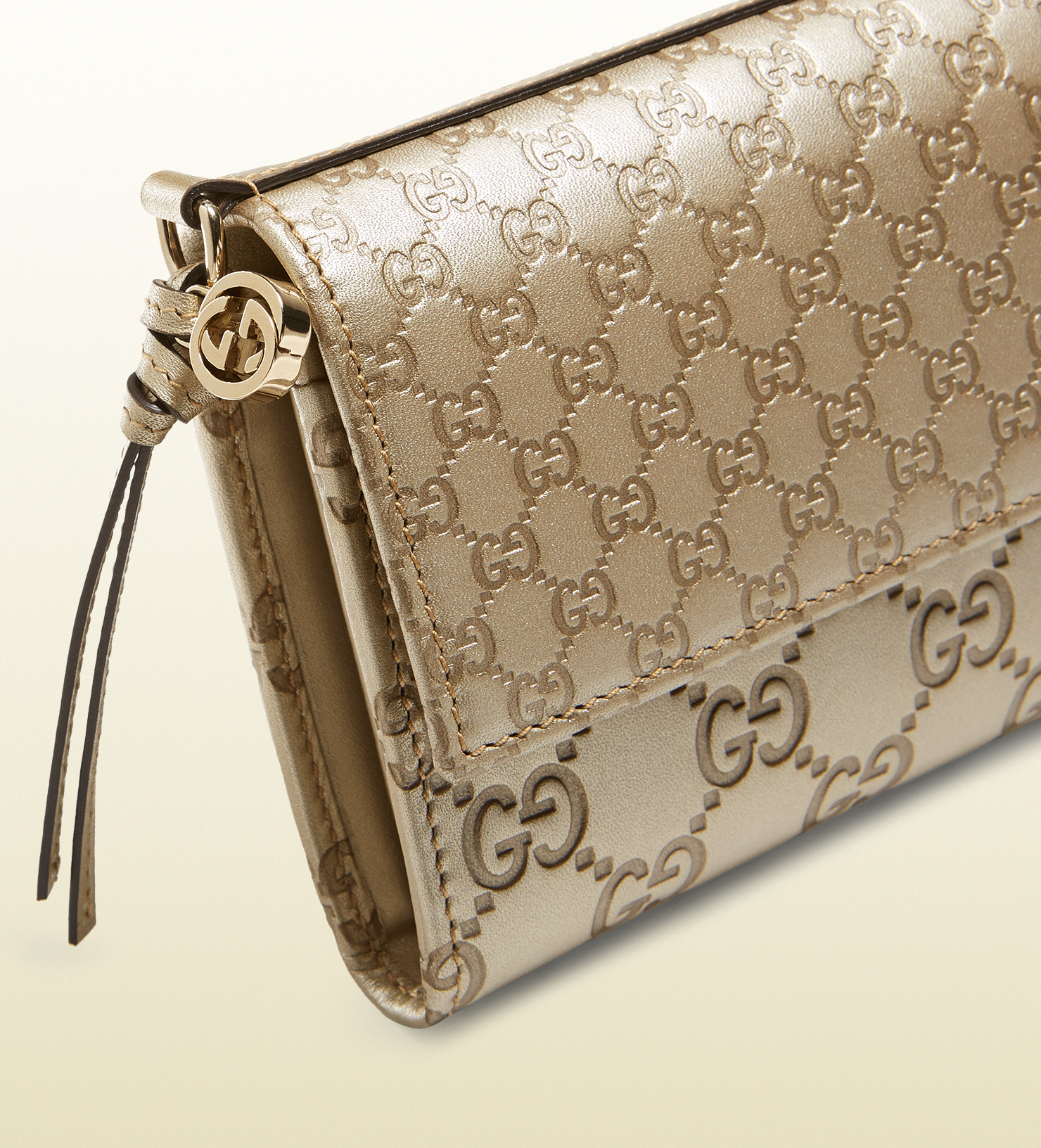 Lyst - Gucci Bree Ssima Leather Continental Wallet in Metallic