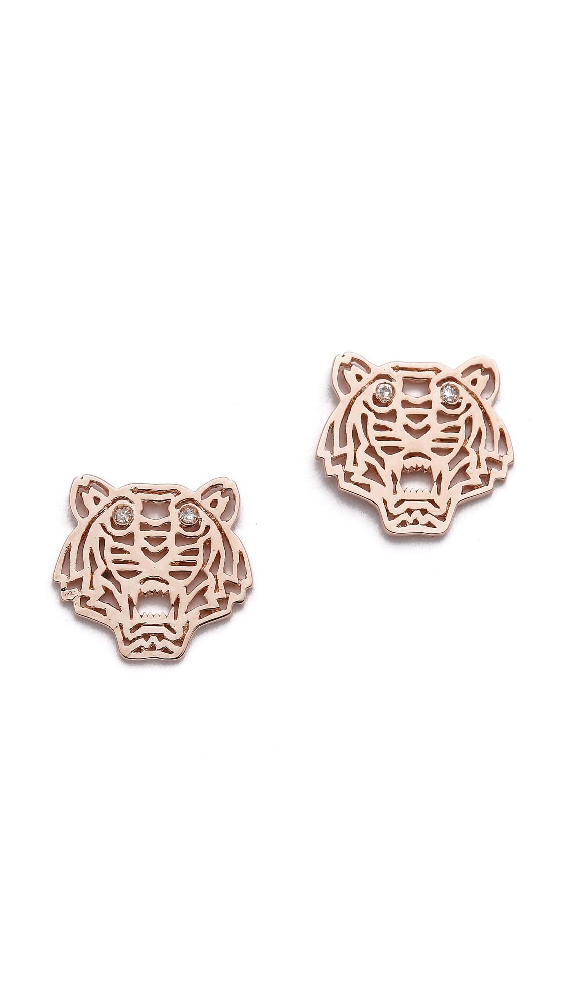 kenzo mini tiger earrings in pink pink gold lyst