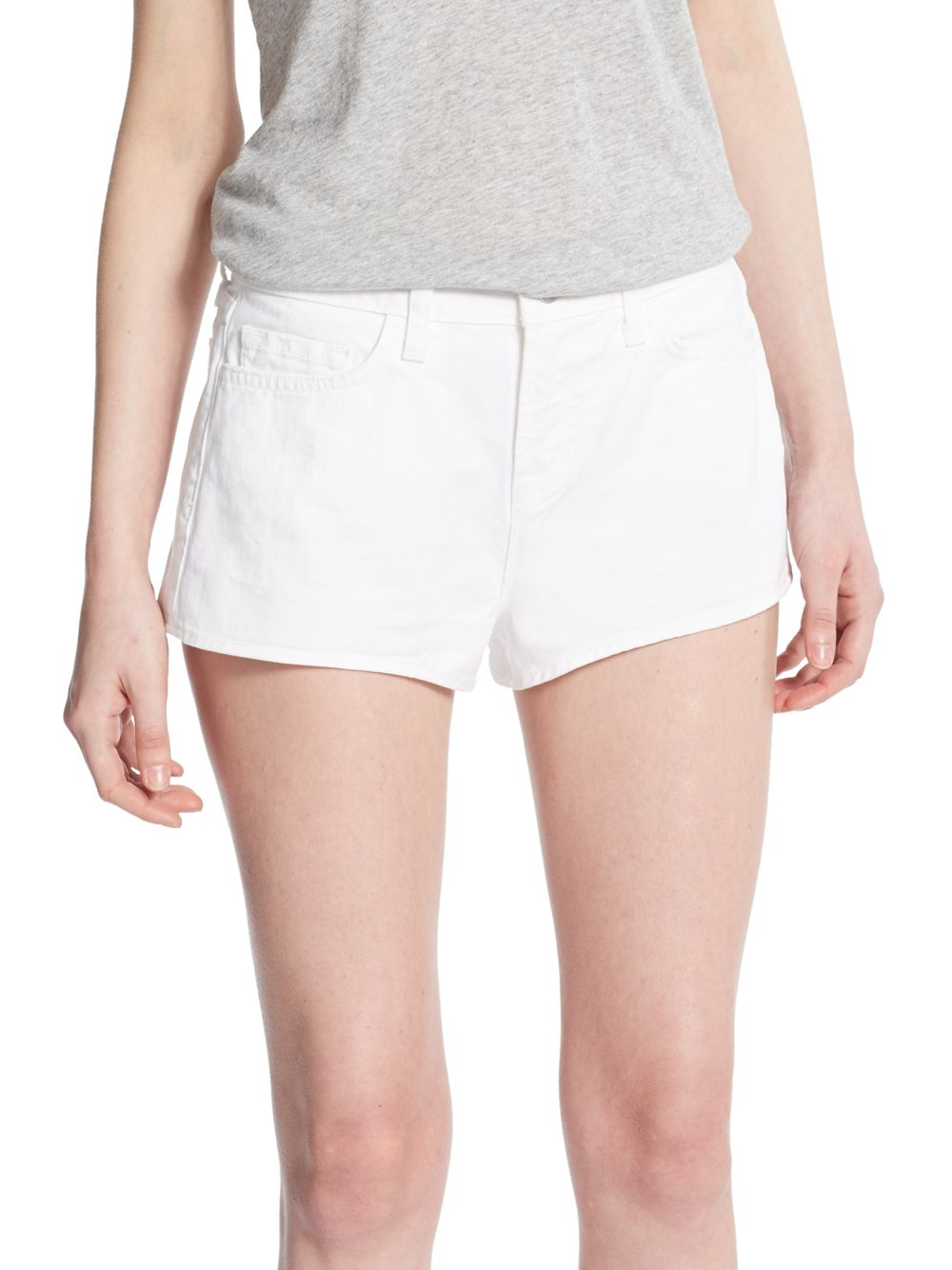 J brand High-rise Denim Shorts in White | Lyst