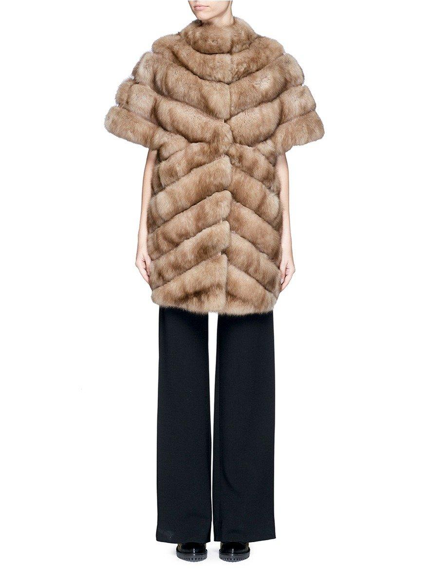 Yves Salomon Python Stripe Sable Fur Coat In Brown Lyst