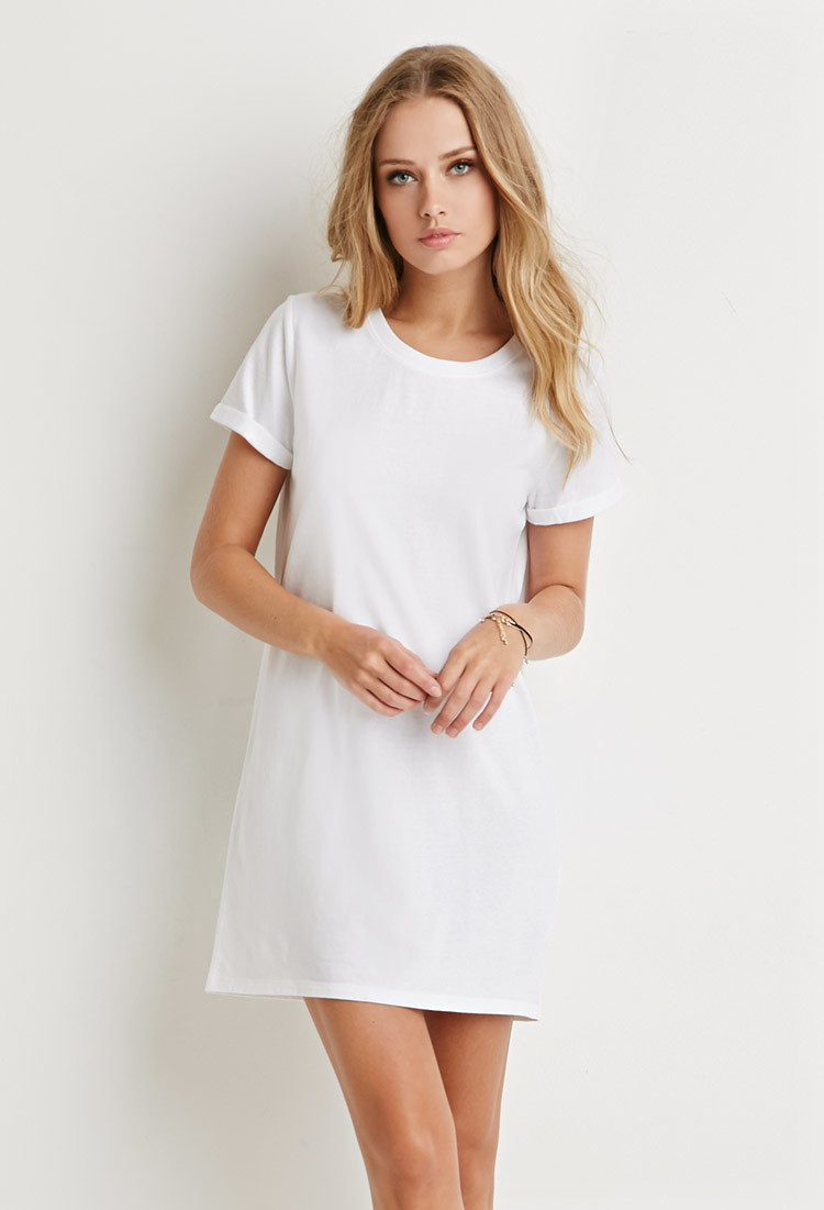 f568594953 Forever 21 White Cotton T-shirt Dress
