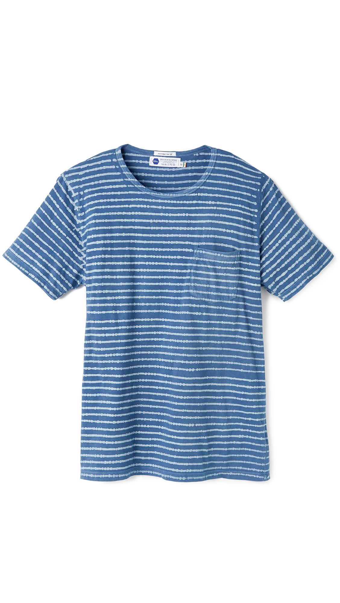 industry of all nations batik stripes pocket t shirt in blue for men 6 dip indigo lyst. Black Bedroom Furniture Sets. Home Design Ideas