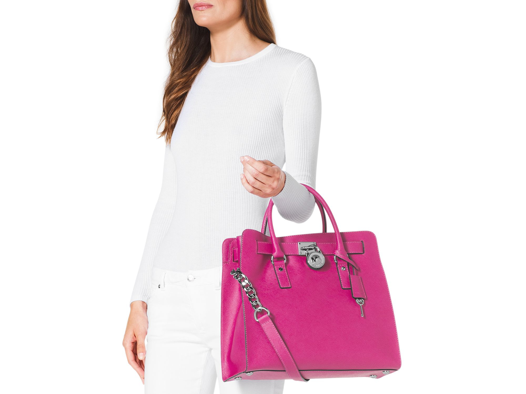 1533ae7d0c30 Lyst - MICHAEL Michael Kors Hamilton Saffiano Large North South Tote ...
