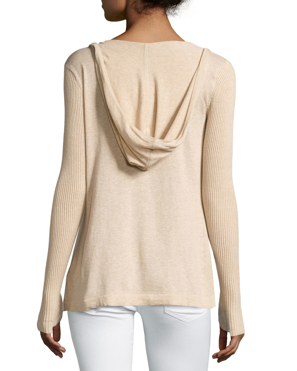 Minnie rose Cotton Hooded Open-front Duster Cardigan in Natural   Lyst
