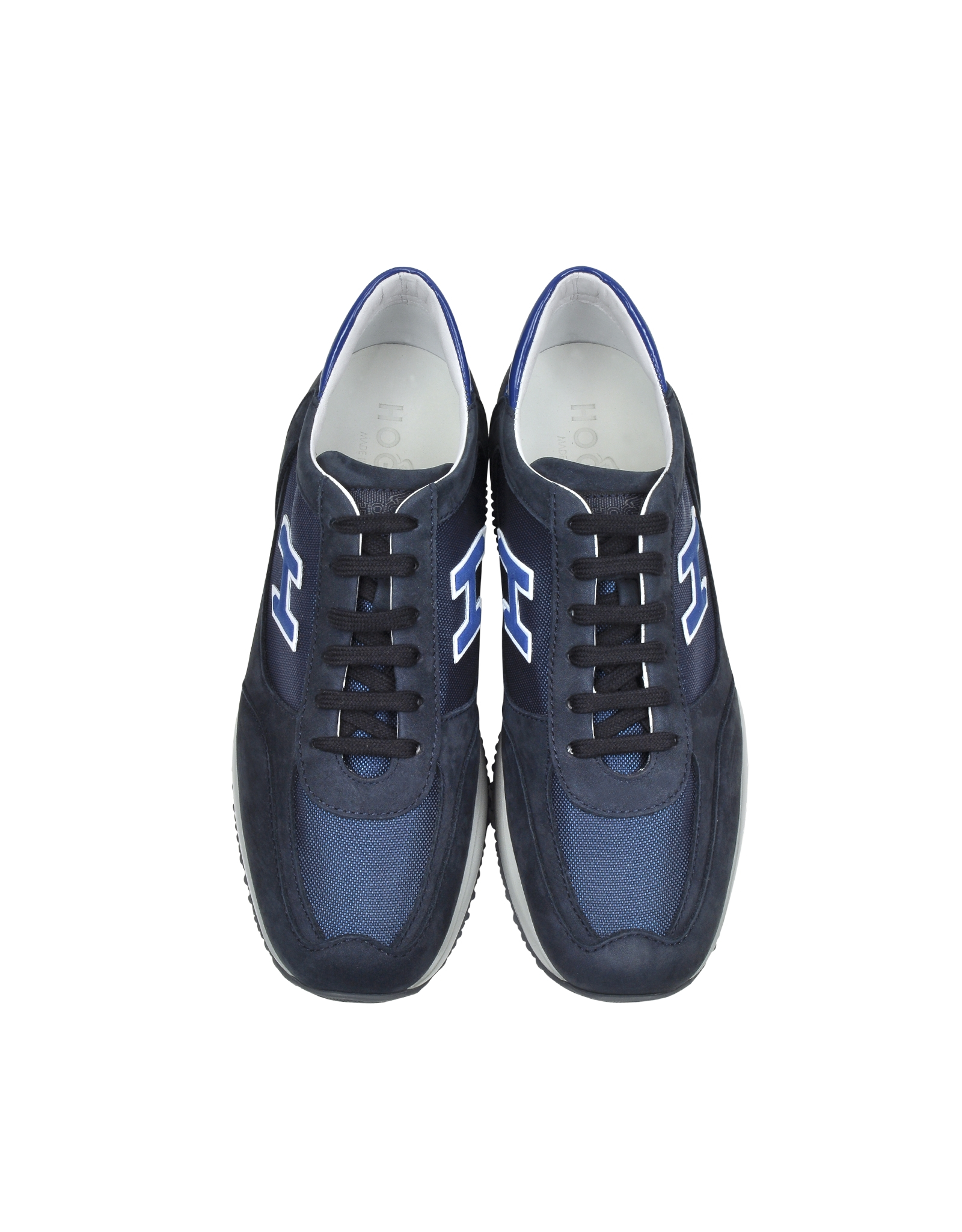 hogan dark blue fabric and leather sneaker in blue for men lyst. Black Bedroom Furniture Sets. Home Design Ideas