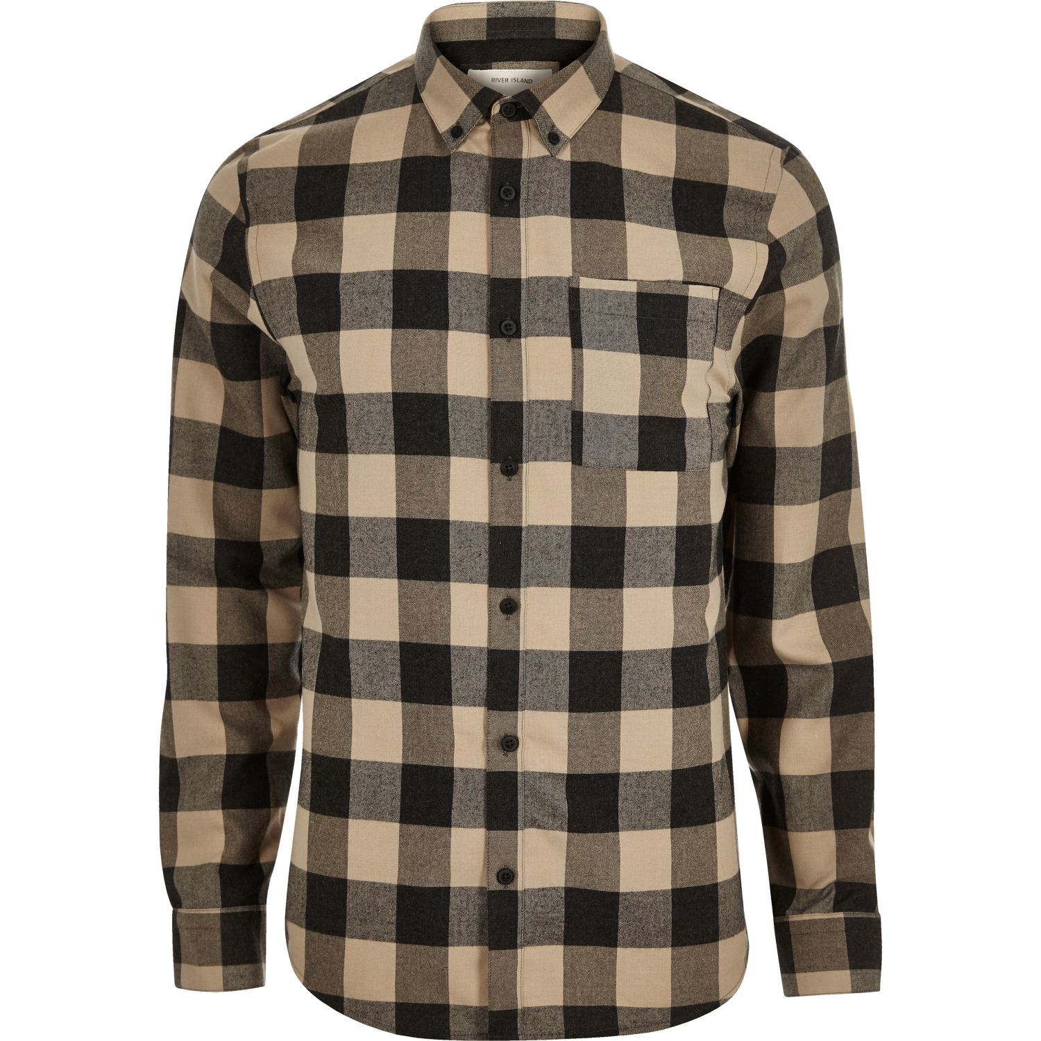 River island brown check flannel shirt in black for men lyst for Black brown mens shirts