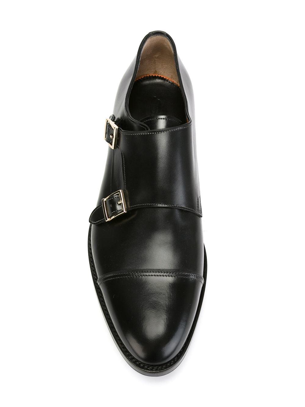 Lyst Santoni Monk Strap Shoes In Black For Men
