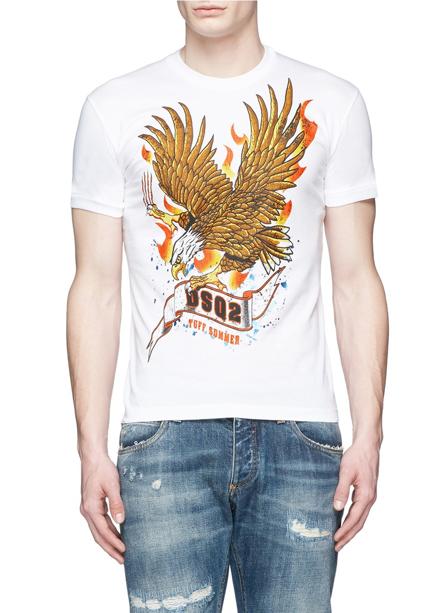 6bedf5e5 DSquared² Eagle Print T-shirt in White for Men - Lyst