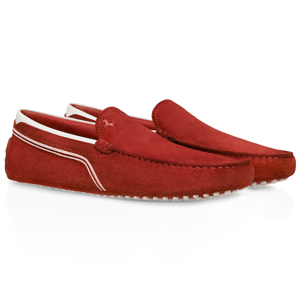 Tod's Ferrari Gommino Driving Shoes In Suede in Red for Men | Lyst