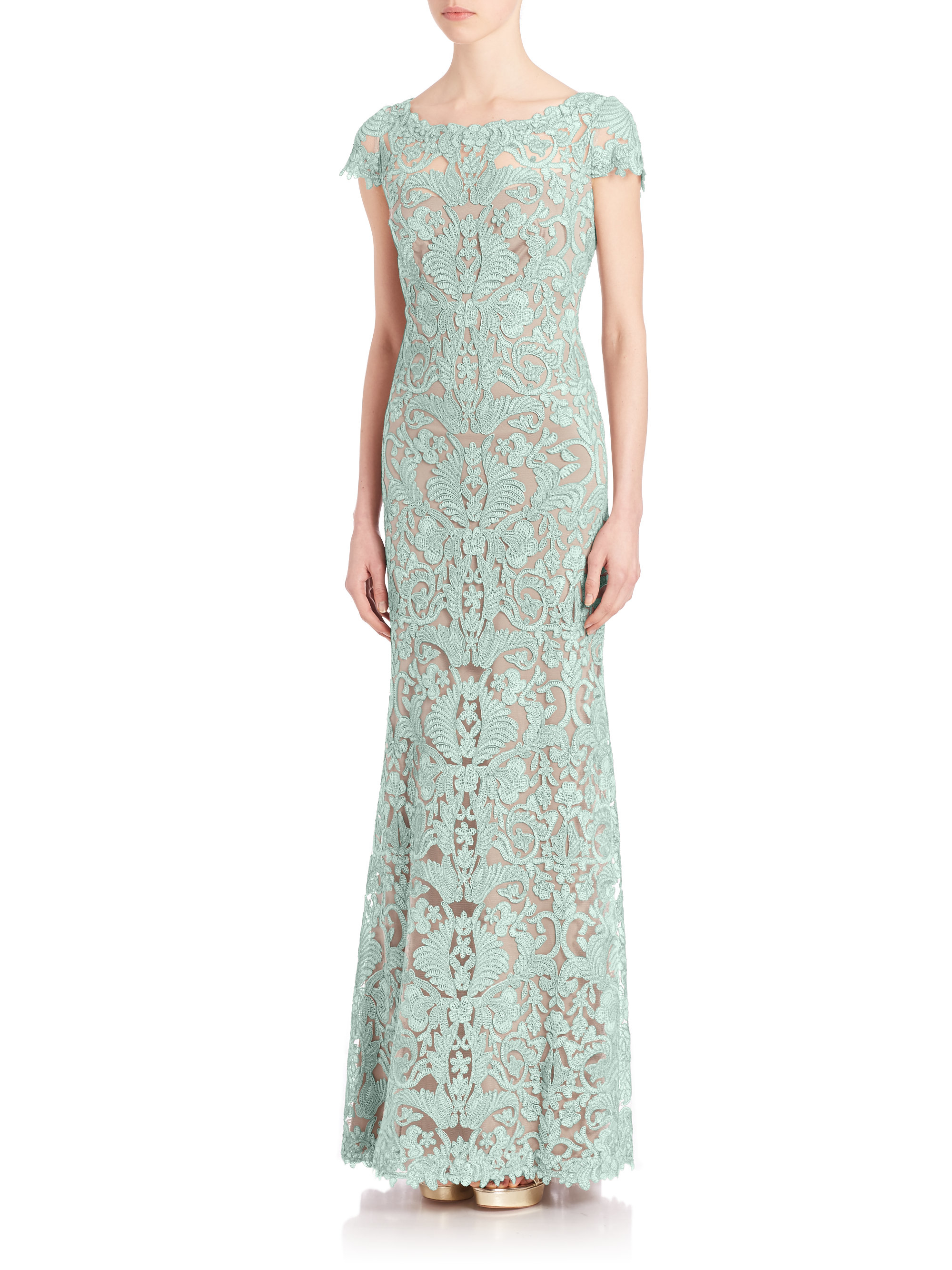 Lyst - Tadashi shoji Embroidered Boat-Neck Lace Gown in Green