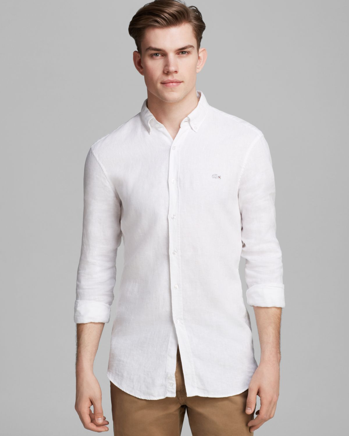 lyst lacoste linen sport shirt slim fit in white for men. Black Bedroom Furniture Sets. Home Design Ideas