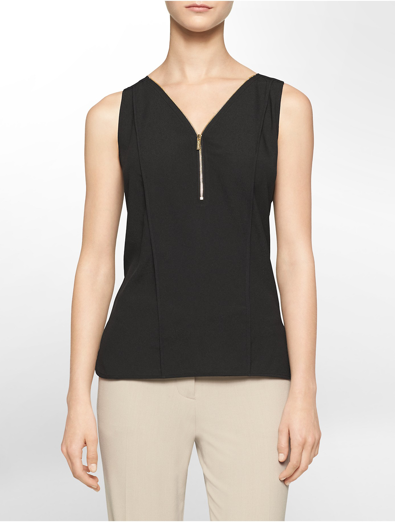calvin klein white label partial zip high low sleeveless top in black lyst. Black Bedroom Furniture Sets. Home Design Ideas