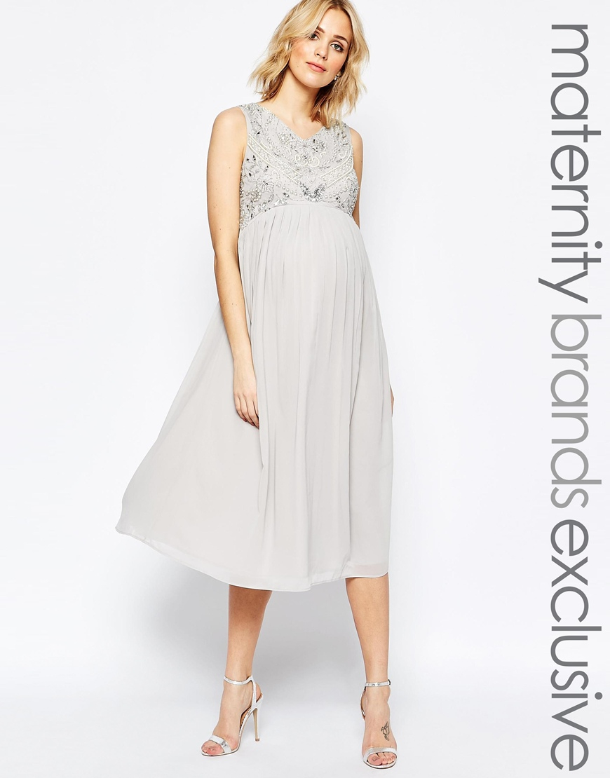 Lyst maya maternity bead embellished bodice midi dress in gray gallery ombrellifo Images