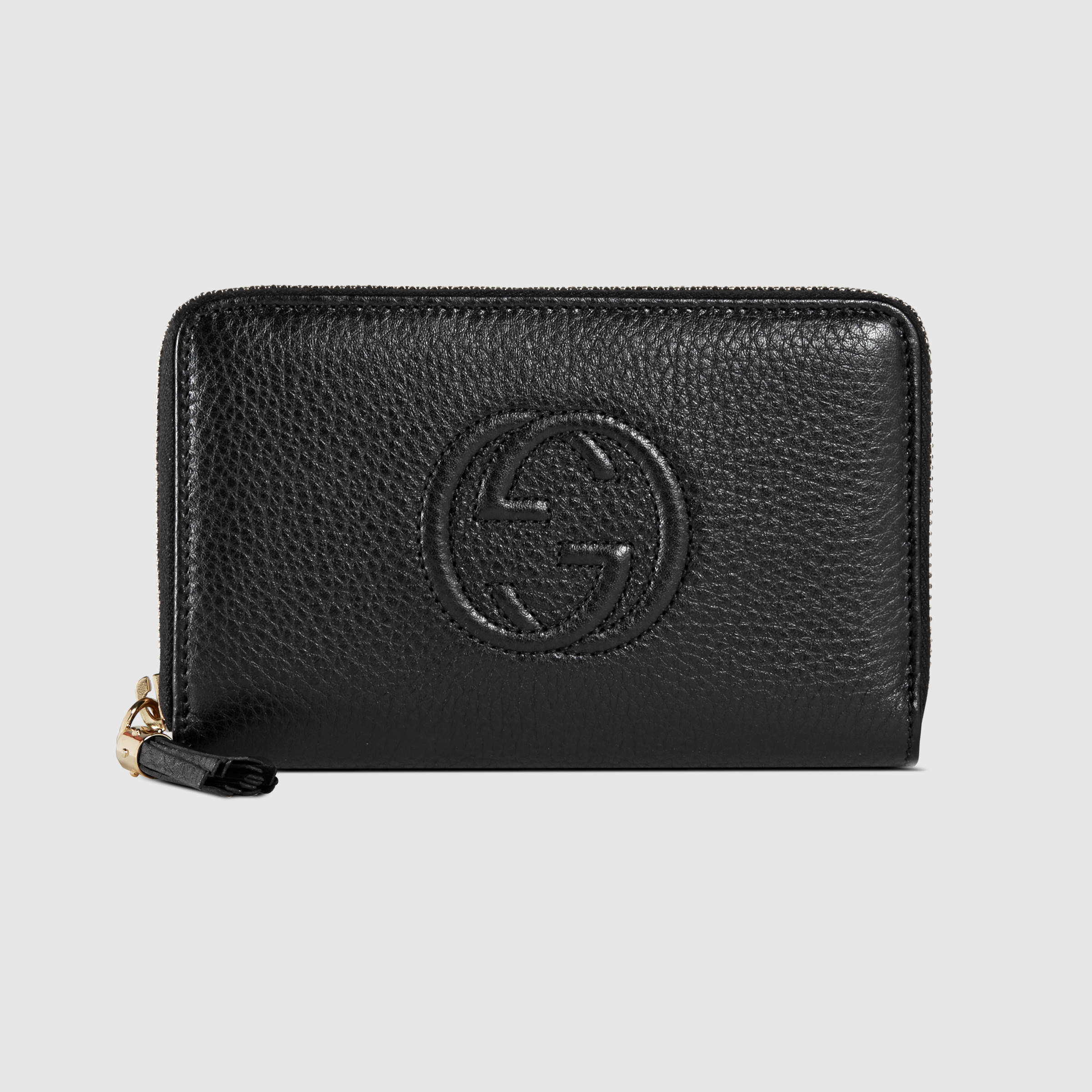 d60c007e7d0 Lyst - Gucci Soho Leather Zip Around Wallet in Black